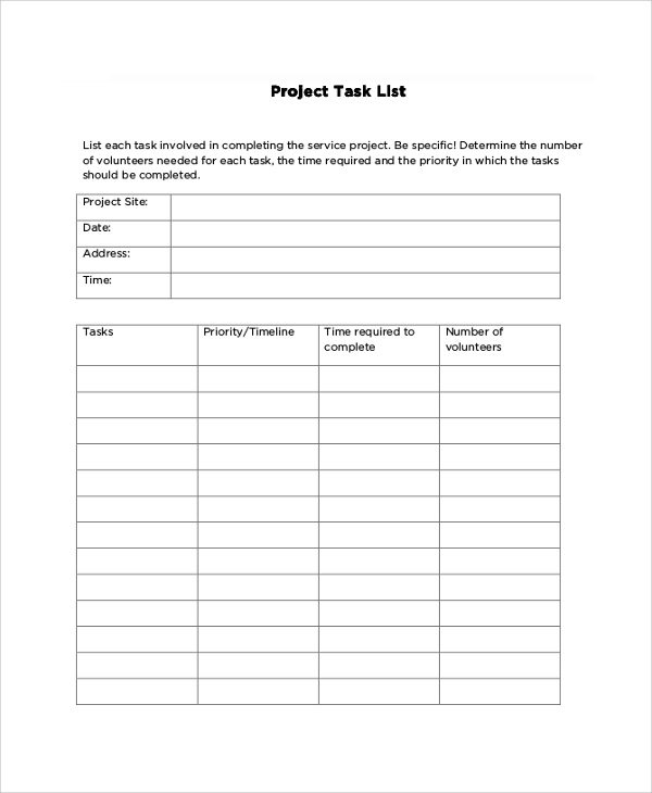 project task list