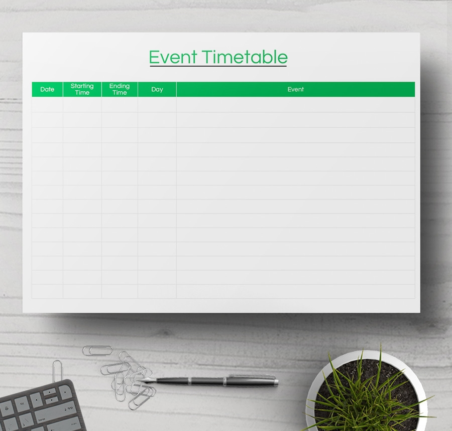 7+ Free Timetable Samples - (Daily, Weekly)Event Timetable