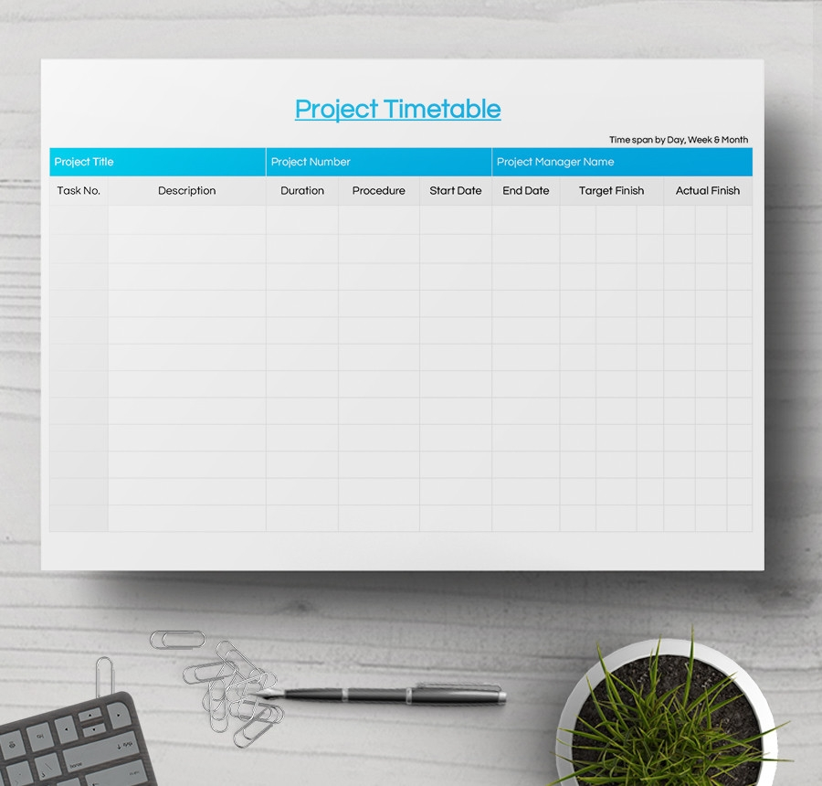 Sample Project Timetable  Project Timetable Template