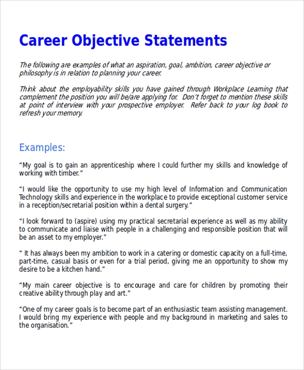 7+ Sample Career Objective Statements  Sample Templates