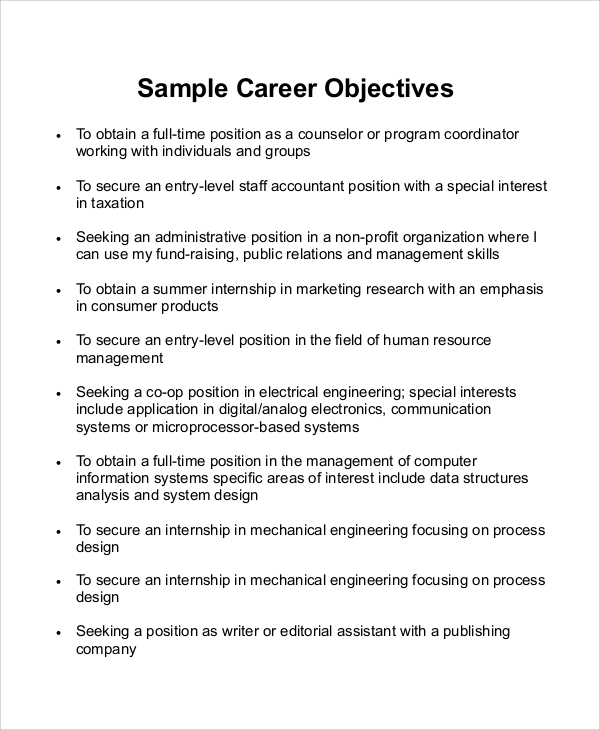 free 7  sample career objective statement templates in ms
