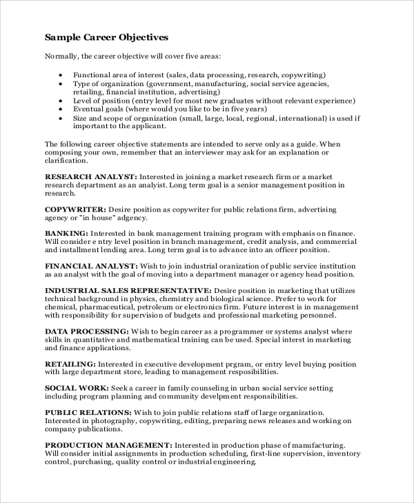 sample career objective statement 7 examples in word pdf - Good Objective Statements For Resume