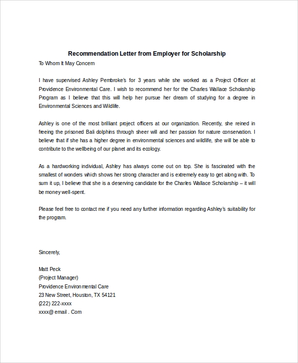 Sample Scholarship Recommendation Letter   Examples In Word Pdf