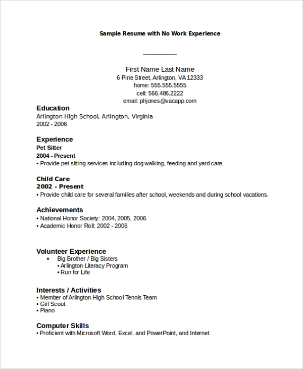 no work experience resume layout