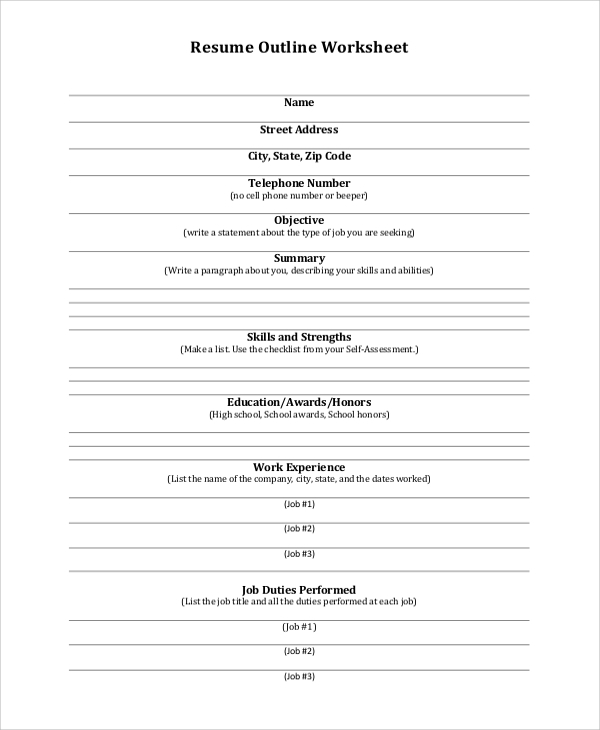 resume outline worksheet layout