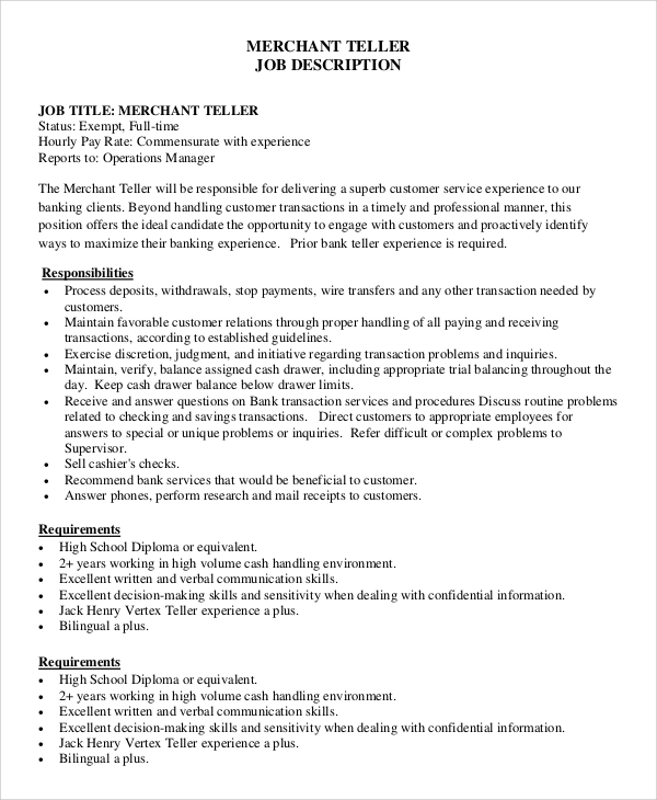 Sample Teller Job Description   Examples In Pdf