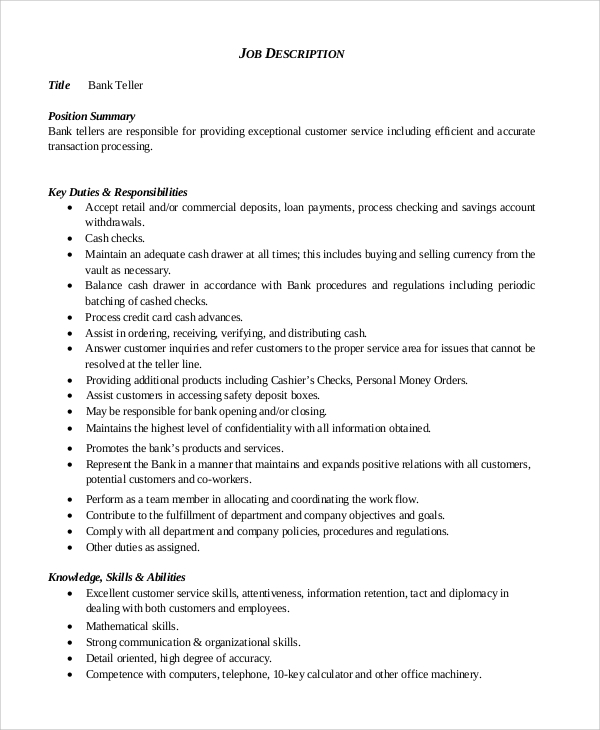 Sample Teller Job Description 8 Examples in PDF – Bank Teller Job Description