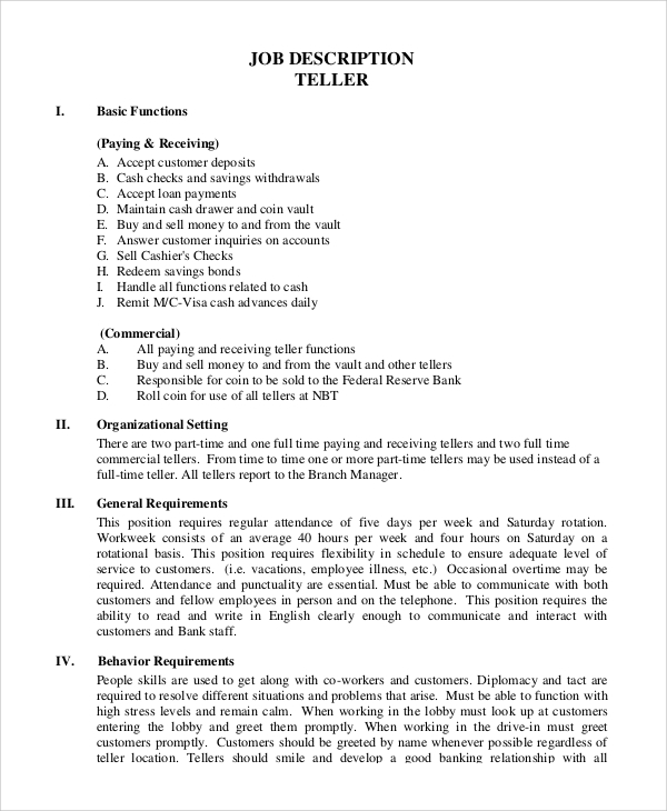 Welder Job Description. Teller Job Teller Job Interview Cover