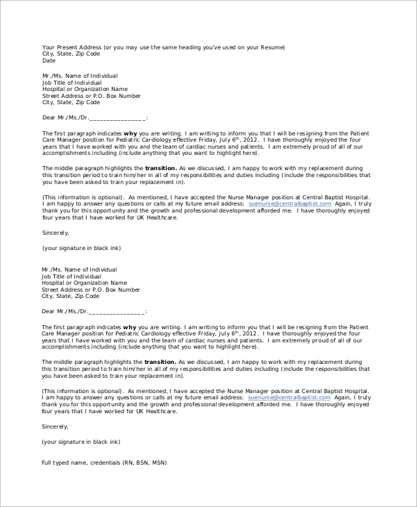 resignation letter to hospital