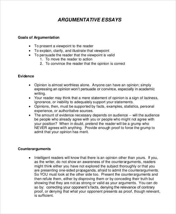 Samples of an argumentative essay