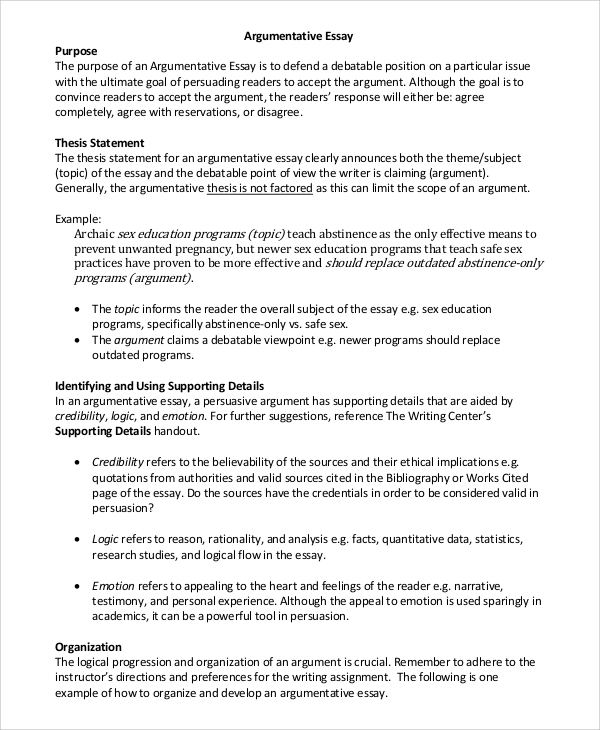 Write thesis statement argumentative research paper