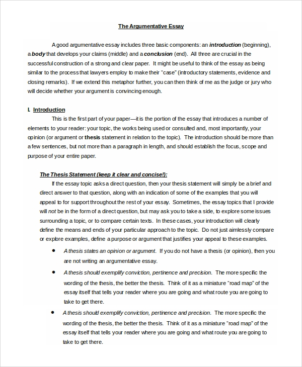 Example of argumentative essay essay