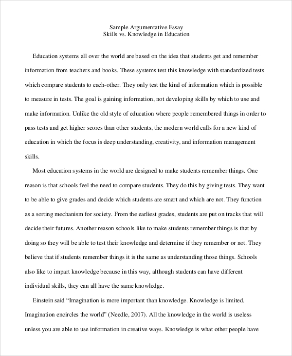 argumentative essay for education - An Example Of A Argumentative Essay