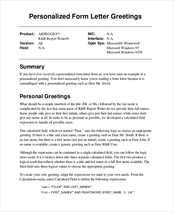 personalized form letter greeting