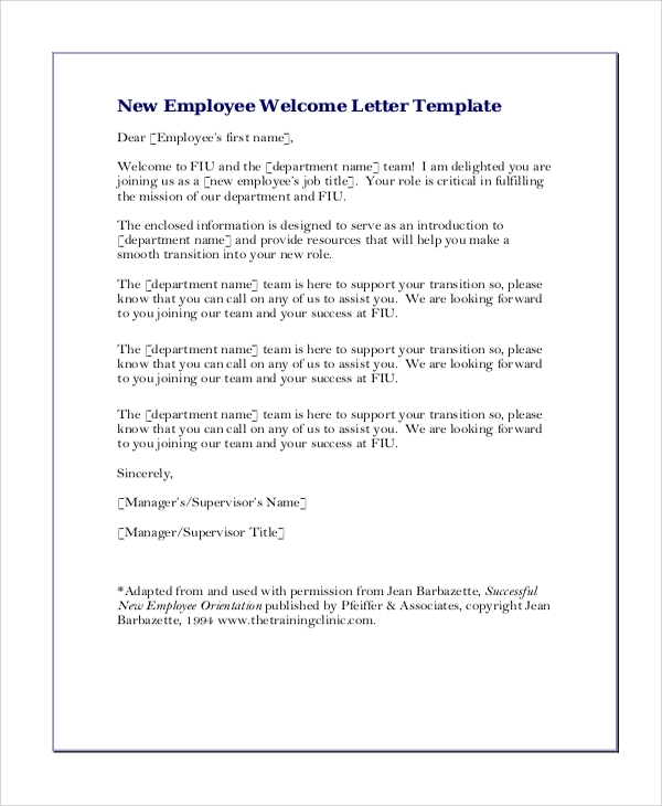 6 sample greeting letters sample templates new employee welcome greeting letter spiritdancerdesigns Image collections