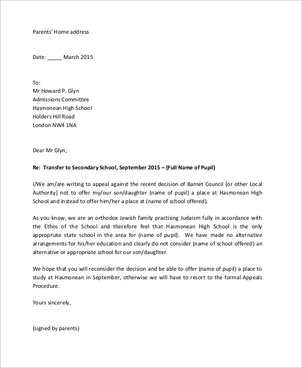 appeal letter sample for school admission