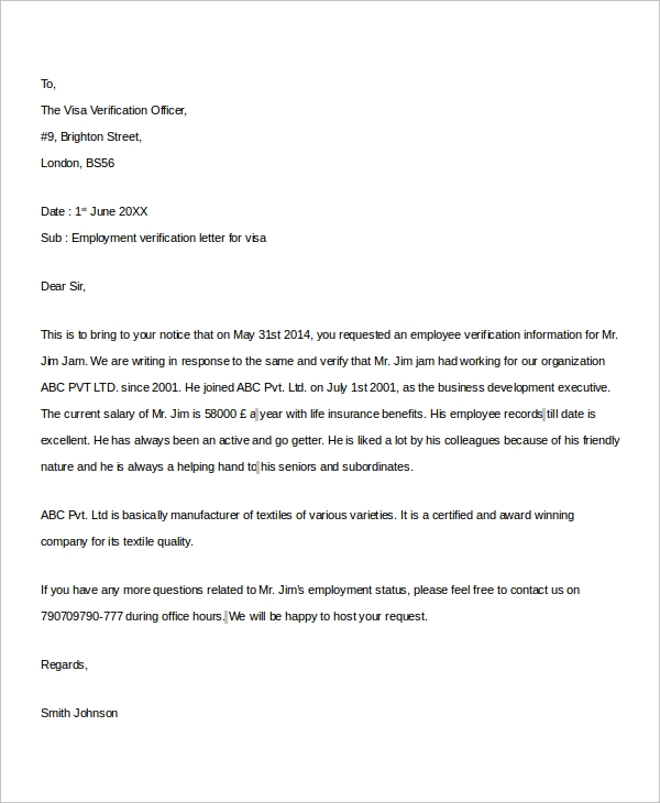 Awesome Sample Employment Verification Letter For Visa  Employment Verification Letter Template Word