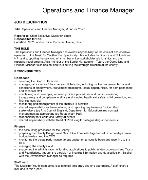 Sample Financial Manager Job Description   Examples In Pdf Word