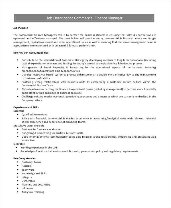 job-description-for-commercial-finance-manager