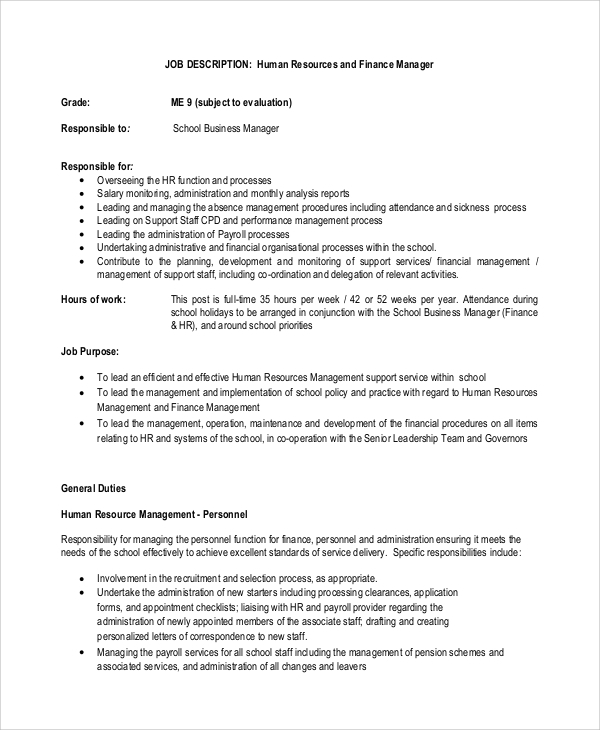 sample financial manager job description 10 examples in