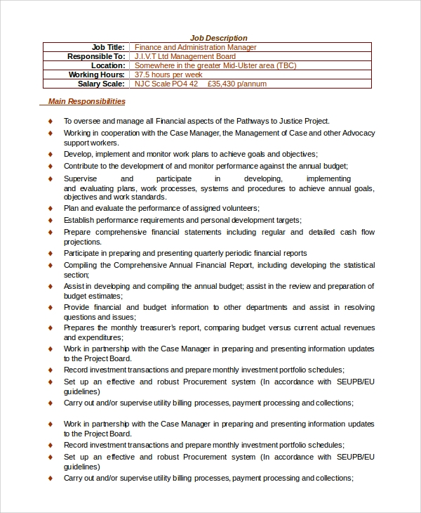 finance and administration manager job description. Resume Example. Resume CV Cover Letter