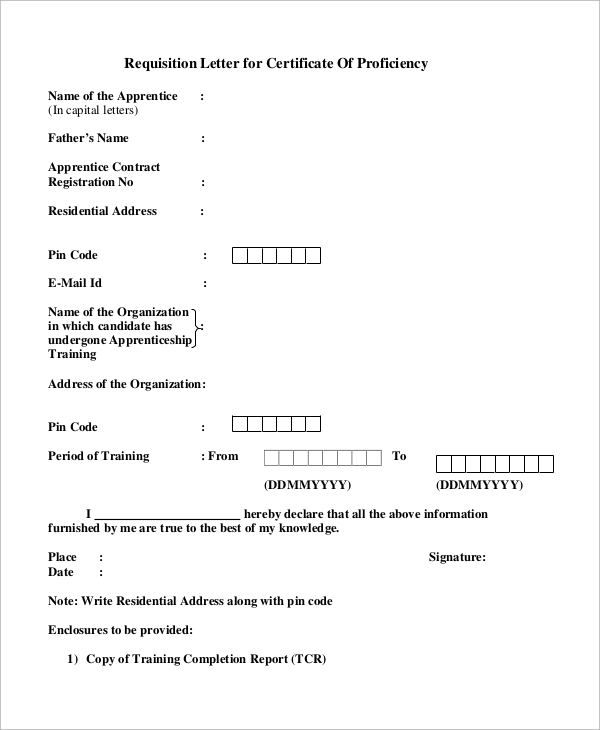 Sample Requisition Letter For Certificate Of Proficiency  Purchase Requisition Letter
