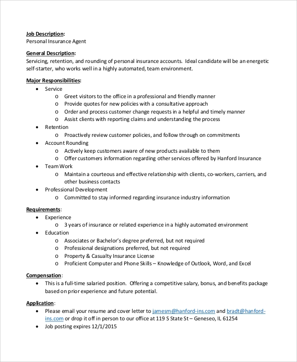 Personal Insurance Agent Job Description Sample In PDF