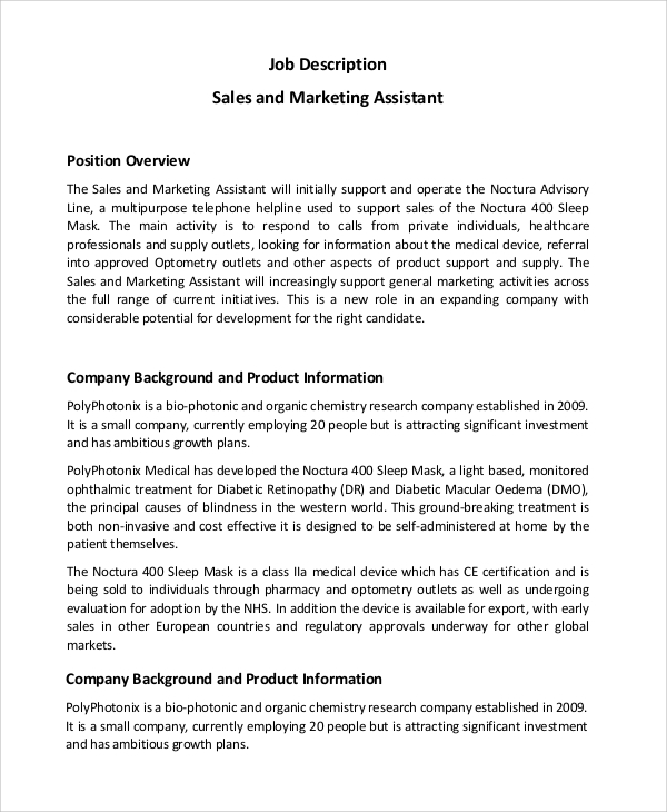 sales and marketing assistant job description sample