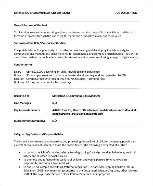 Sample Marketing Assistant Job Description 10 Examples in PDF Word – Marketing Assistant Job Description