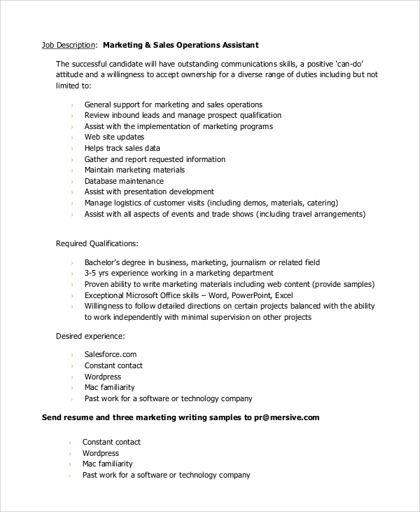 Sample Marketing Assistant Job Description 10 Examples in PDF Word – Sales Assistant Job Description
