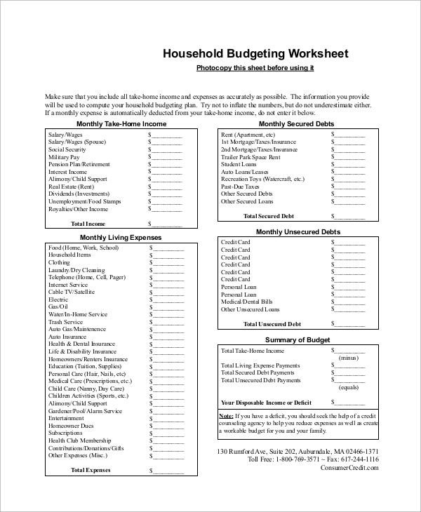 Printable Budget Worksheet Sample 8 Examples in Word Excel PDF – How Does a Monthly Budget Worksheet Help You