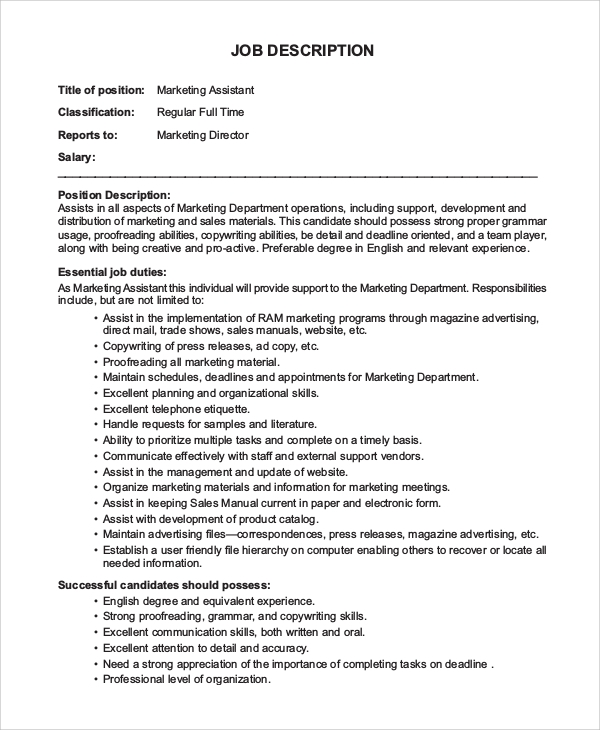 Sample Marketing Assistant Job Description   Examples In Pdf Word