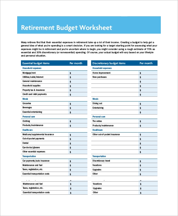 Printables Retirement Budget Worksheet printable budget worksheet sample 8 examples in word excel pdf retirement format