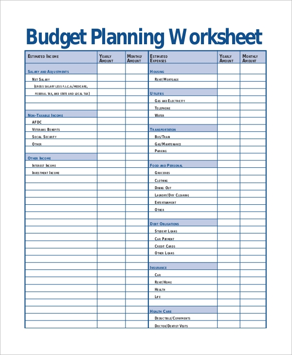 sample budget planning worksheet in pdf