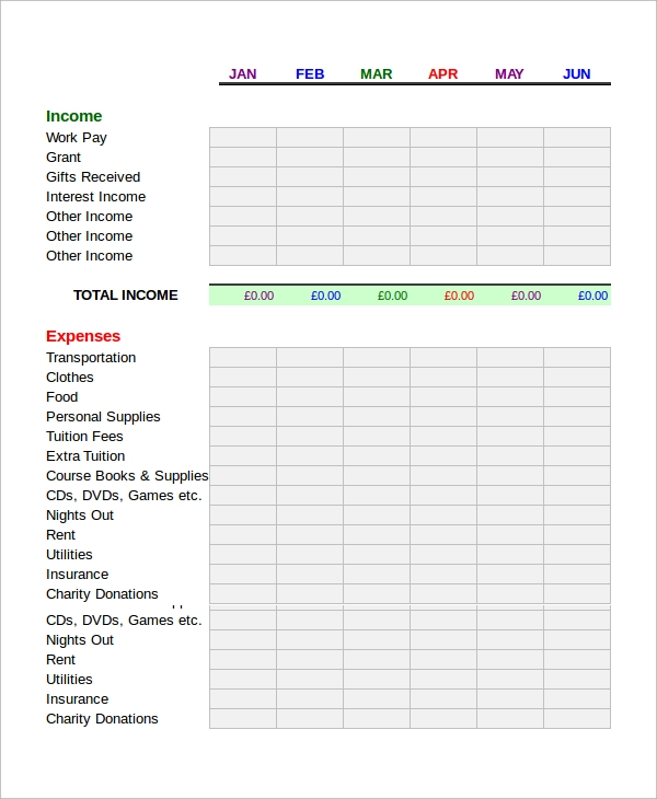 Printable Budget Worksheet Sample   Examples In Word Excel Pdf