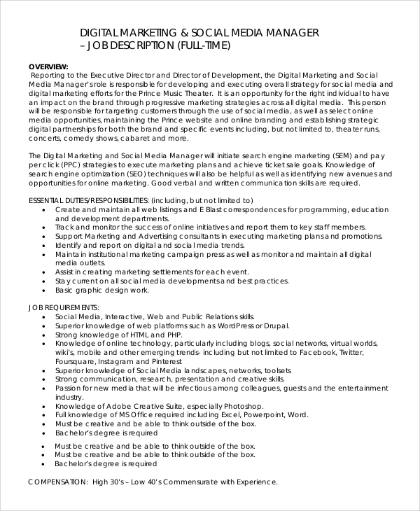 Sample Social Media Manager Job Description   Examples In Pdf Word
