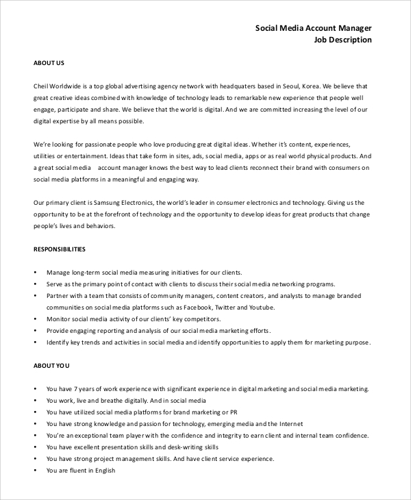 Sample Social Media Manager Job Description   Examples In Pdf