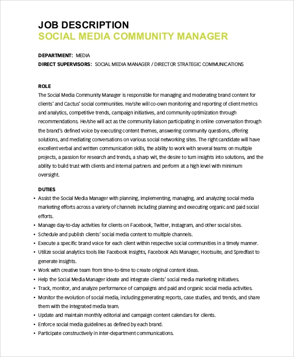 Sample Social Media Manager Job Description 10 Examples