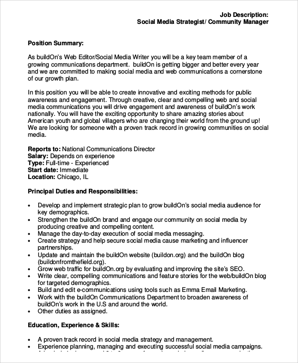 Sample Social Media Manager Job Description 10 Examples in PDF – Managing Editor Job Description