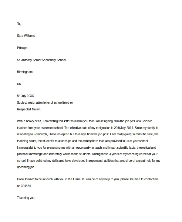 Sample School Teacher Resignation Letter In Word