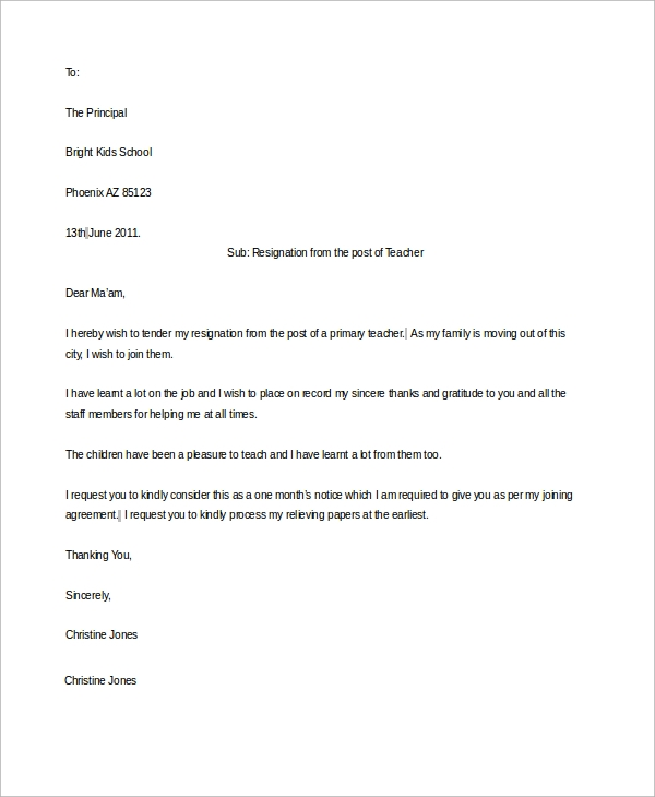Primary Teacher Resignation Letter
