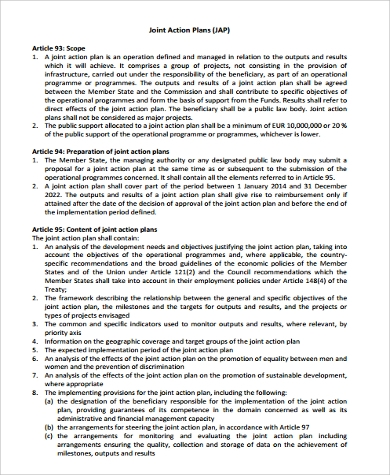 joint action plan sample