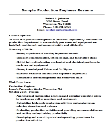 Sample Engineer Resume  9 Examples