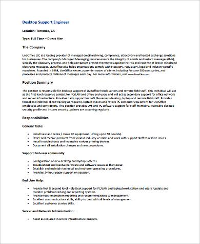 desktop support engineer resume