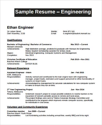 engineer fresher resume