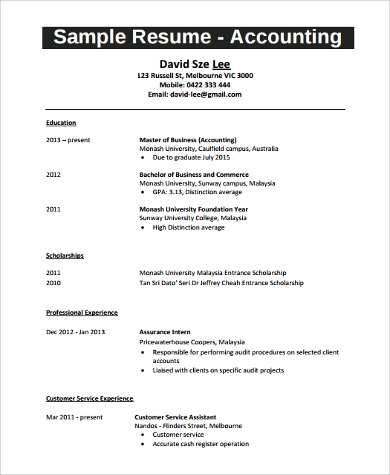 Resume Example For Student - 9+ Samples In Word, Pdf