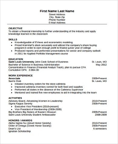 finance student resume format