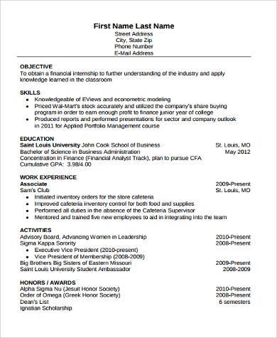 finance student resume 8 amazing finance resume examples