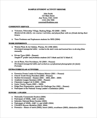 resume example for student 9 samples in word pdf