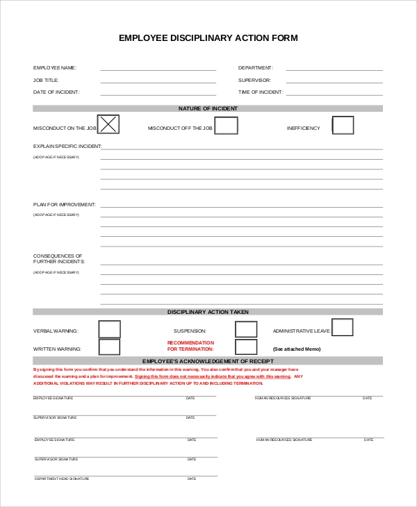 Employee Discipline Action Form Sample